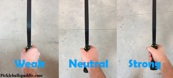 Weak Neutral and strong way of holding paddle in continental grip